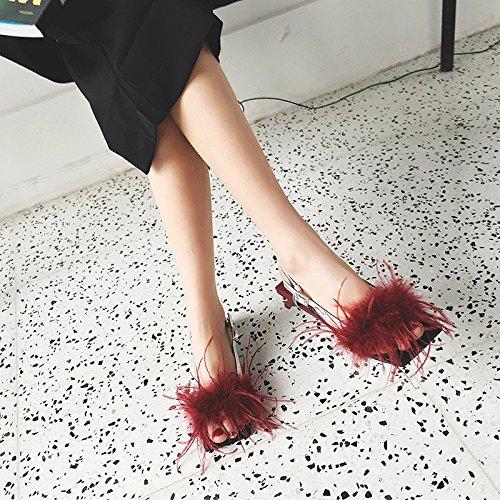 MUYII à Red Femmes Cuir Pour Sandales En Ouvert Bout Sandales Zrz5WrxqwT