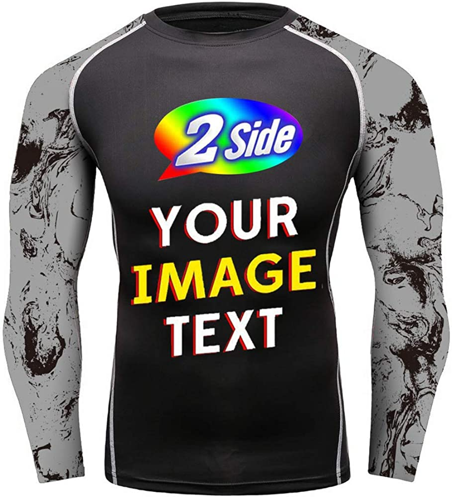 O2TEE Design Your Own Long Sleeve Compression Trainning Top Front & Back Add Your Text