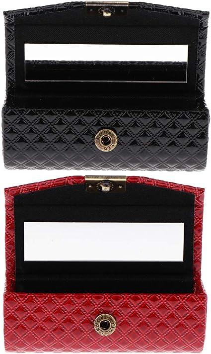 2 piezas con cierre, estuche compacto para pintalabios con espejos, rojo y negro.: Amazon.es: Belleza