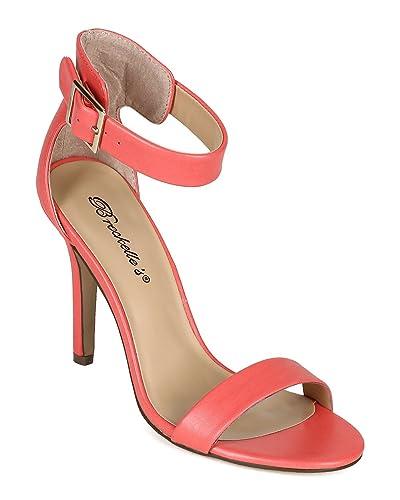 e7172771f950 Breckelle s Women Leatherette Open Toe Single Band Ankle Strap Stiletto  Sandal CC05 - Grapefruit (Size