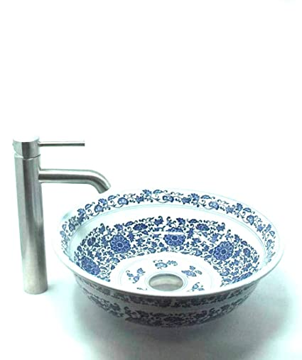 Fontaine By Italia Vessel Sink And Faucet Combo Antique Blue And White  China Porcelain Bathroom Vessel
