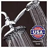"""AquaDance 7"""" Premium High Pressure 3-way Rainfall Shower Combo Combines the Best of Both Worlds - Enjoy Luxurious 6-Setting Rain Showerhead and 6-setting Hand Held Shower Separately or Together!"""