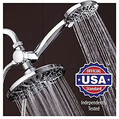 AquaDance 7  Premium High Pressure 3-way Rainfall Shower Combo Combines the Best of Both Worlds - Enjoy Luxurious 6-Setting Rain Showerhead and 6-setting Hand Held Shower Separately or Together!