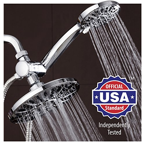AquaDance 7″ Premium High Pressure 3-way Rainfall Shower Combo Combines the Best of Both Worlds – Enjoy Luxurious 6-Setting Rain Showerhead and 6-setting Hand Held Shower Separately or Together!
