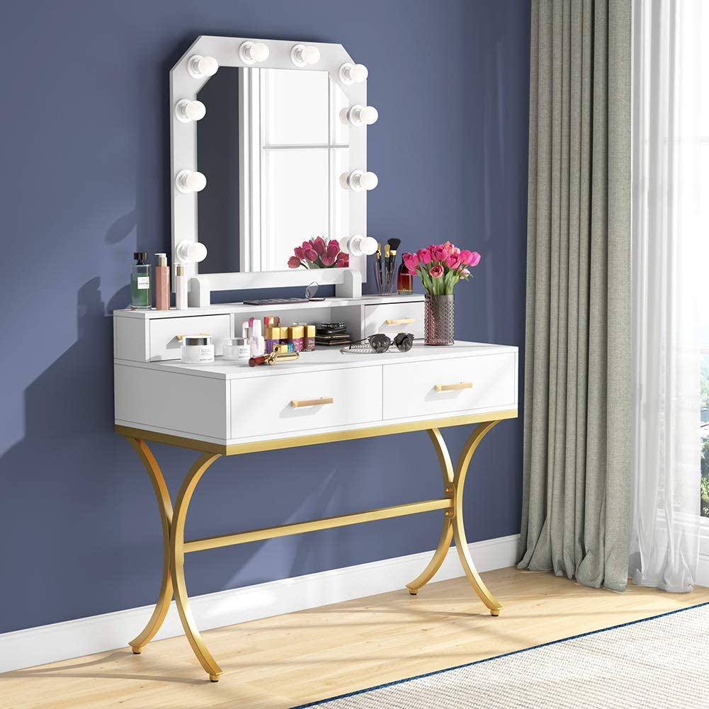 Tribesigns Vanity Table with Lighted Mirror, Elegant Makeup Vanity Dressing Table with 10 Lights & 4 Drawers for Women and Girls Modern Make-up Dresser Table for Bedroom