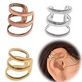 3 pc Ear Cuff Clip Silver Gold Bronze Non