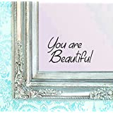 """BERRYZILLA You are Beautiful Decal 8"""" x 4.75"""" Motivational Quote Wall Sticker for Mirror, Windows or Walls Decoration Decor Stickerciti Brand"""