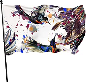 THONFIRE USA Guard Flag Banner Garden Flags Lily Flowers Birds Hanging Indoor Yard for Holidays Patio College Decoration 3x5 Foot