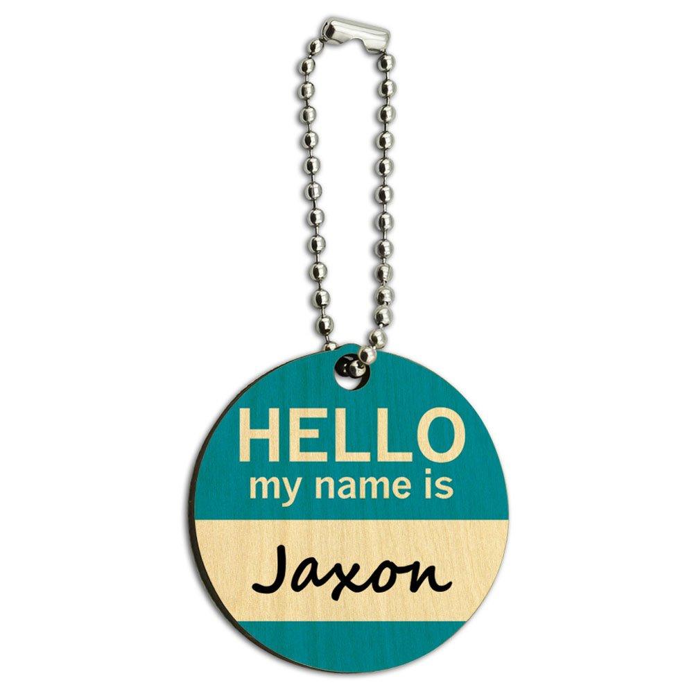 Jaxon Hello My Name Is Wood Wooden Round Key Chain