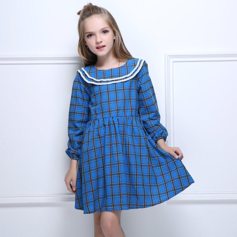 9f5e9cadb Amazon.com  Kseniya Kids Big Little Girls Peter Pan Collar Dresses ...