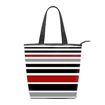 3958f4f672 Amazon.com   Women Canvas Handbag Red Black White Gray Stripes Purse  Shoulder Bag Messenger Bag Mom Bag for Women   Beauty