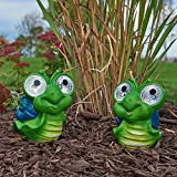 Smart Solar 3593WRM2 Solar Snail Garden Pal Accent Lights, 2 Pack, Integral Solar Panel Charges The Included Ni-MH Battery During The Day