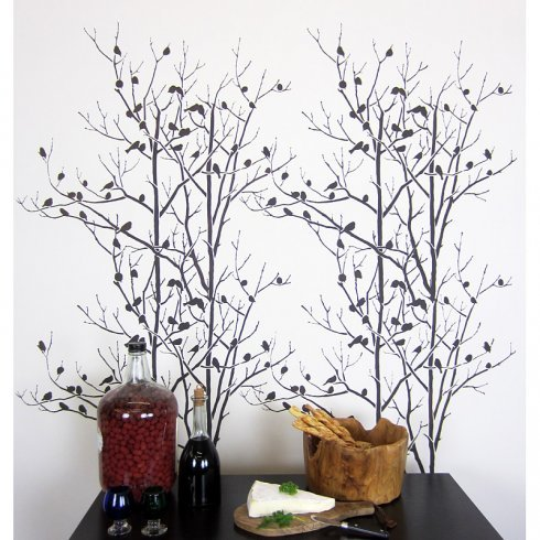 Birds In Trees Wall Stencil Pattern - Beautiful stencils for DIY home decor ()