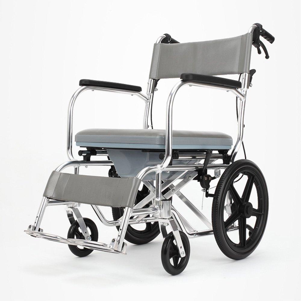 トイレシート トイレチェア、高齢者、障害者便器アルミ合金妊婦折り畳み式バスチェアーベルトホイールトイレ B07D6HDDQW