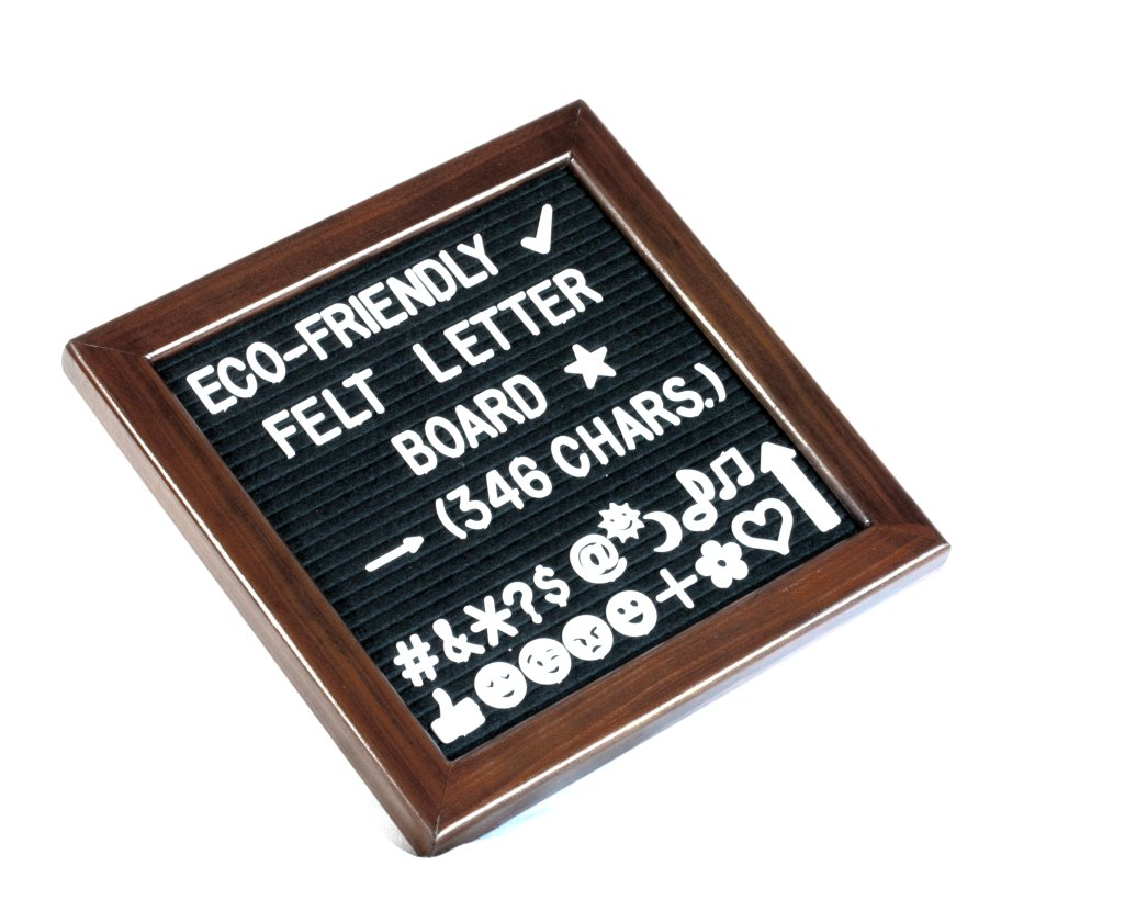 "Felt/Changeable Letter Board with Eco-Friendly Cherry-Red Pine Wood Frame, Black Felt, and 346 Letters, Numbers, Symbols & Emojis; 10""x10"" with Mounting Hooks and Premium Cotton Bag"