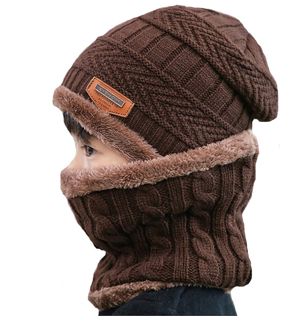 Wine Red Kids Boys Girls Warm Fleece Lining Beanie Snow Hat and Scarf Set