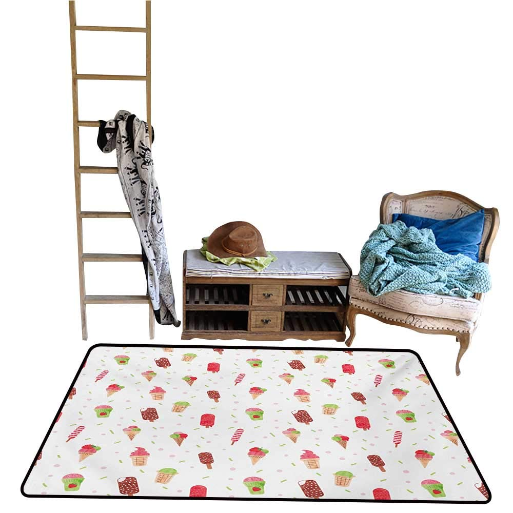 Non-Slip Floor mat,Summertime Inspired Watercolor Pattern with Yummy Dessert Ice Lolly and Cone 4'x6',Can be Used for Floor Decoration