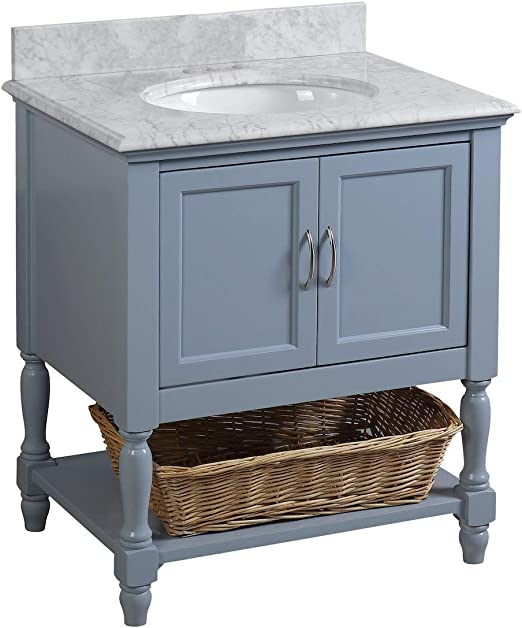 Amazon Com Beverly 30 Inch Bathroom Vanity Carrara Powder Blue Includes Powder Blue Cabinet With Authentic Italian Carrara Marble Countertop And White Ceramic Sink Kitchen Dining