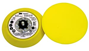 "3M(TM) Hookit(TM) Disc Pad 05775, Hook and Loop Attachment, 5"" Diameter x 3/4"" Thick, 5/16""-24 External Thread, Yellow(Pack of 1)"
