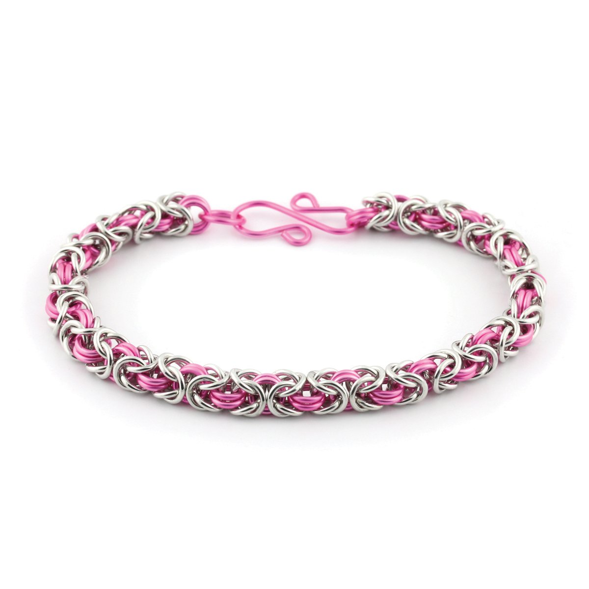 Weave Got Maille 2-Color Byzantine Chain Maille Bracelet Kit Pacific Blue and Silver