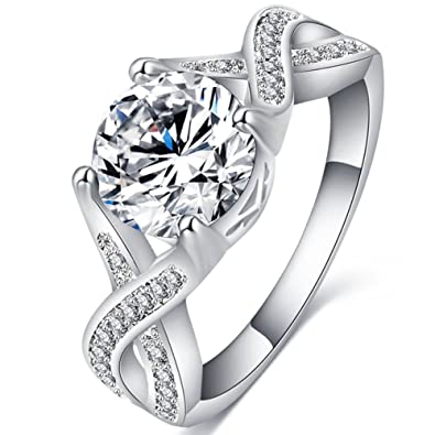 fendina jewelry womens luxurious 18k white gold plated cubic zirconia infinity love solitaire promise eternity ring - White Gold Cubic Zirconia Wedding Rings