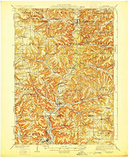 YellowMaps La Farge WI topo map, 1:62500 Scale, 15 X 15 Minute, Historical, 1926, 20.19 x 16.64 in - Paper ()
