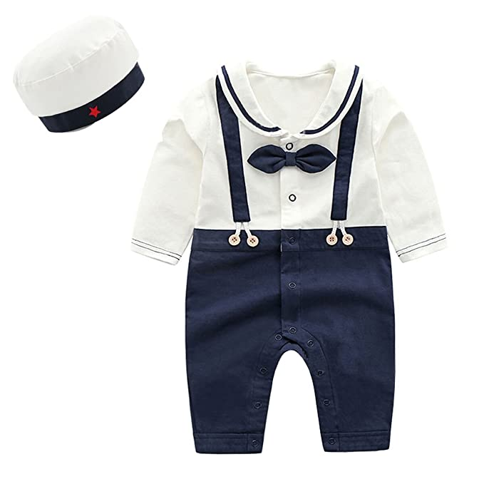 Boy, 6-9M Ding-dong Baby Boy Girl Cotton Navy Romper with Hat 2Pcs Outfit Sets