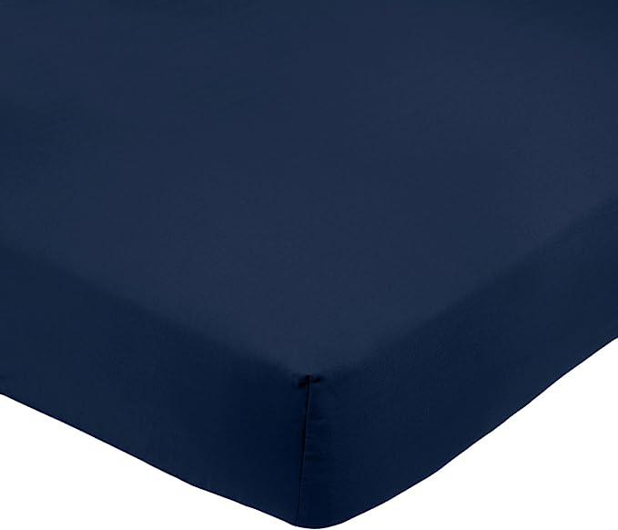 Amazon Basics FTD, Sábanas Ajustables, 180 x 200 x 30 cm, Azul Marino