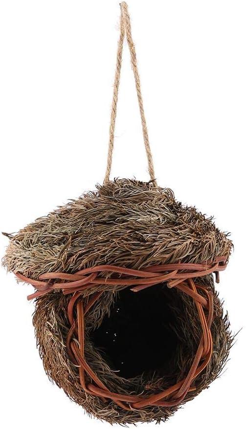 Pssopp Nido pájaros, Nido de Ave Hierba Tejida Hecha a Mano Jaula de Ave Colgante Cría Escotilla Caza Caseta de Caza Loro Anidación para Periquito Hamster Gerbil Chinchillas