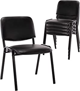 Comfort Conference Chairs, 5 Pack Stackable Reception Chairs DM Furniture PU Leather Guest Chairs for Conference Rooms, Events, Office, Reception Area, Hotel, Hall, Community Centers, Home, Set of 5