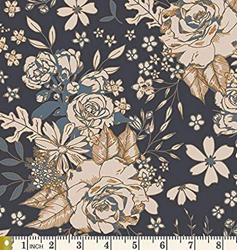 Tan Blue Tres Chic from Quilting Treasures 6 Fat Quarter or Half Yard Bundle Modern Floral and Geometrics Putty