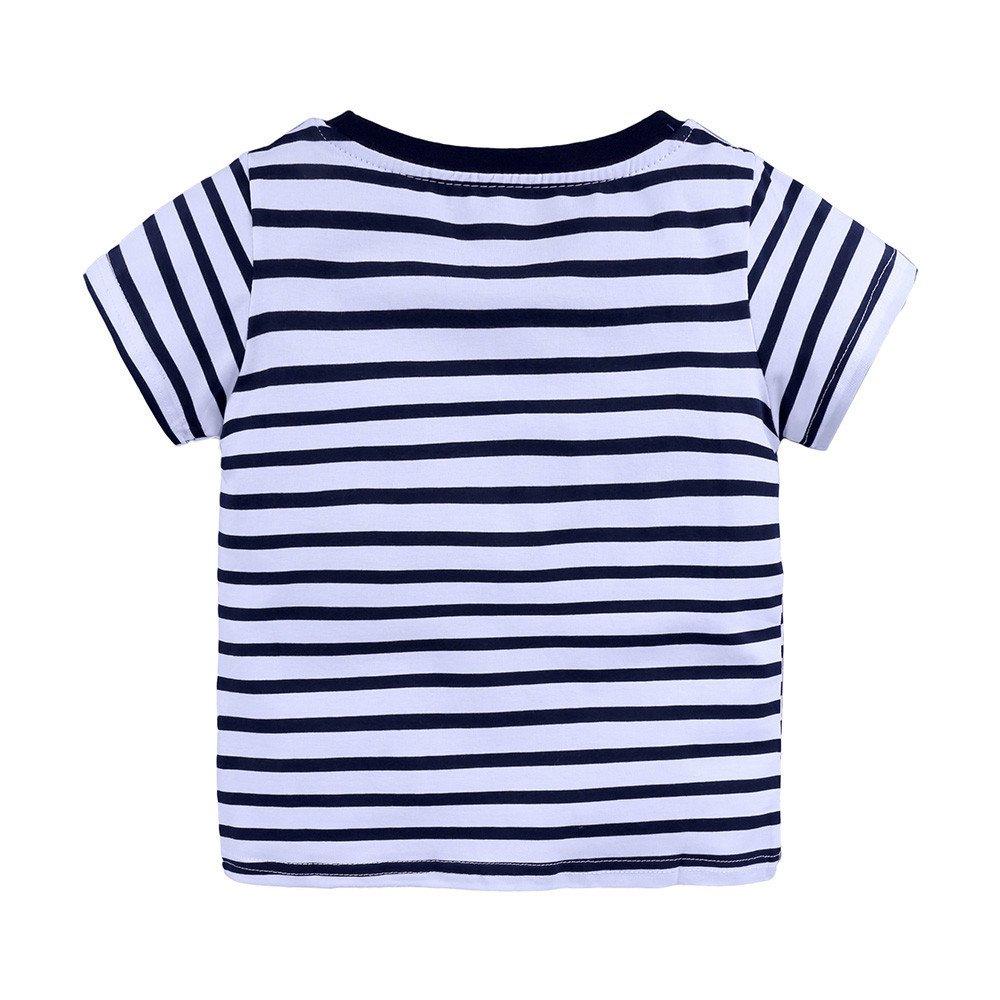 Baby Kids Boys Girls T-Shirts Short Sleeve Cartoon Print Summer Casual Tops Outfit