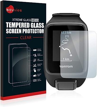 Image of savvies Cristal Templado Compatible con Tomtom Spark 3 Protector Pantalla Vidrio Proteccion 9H Pelicula Anti-Huellas