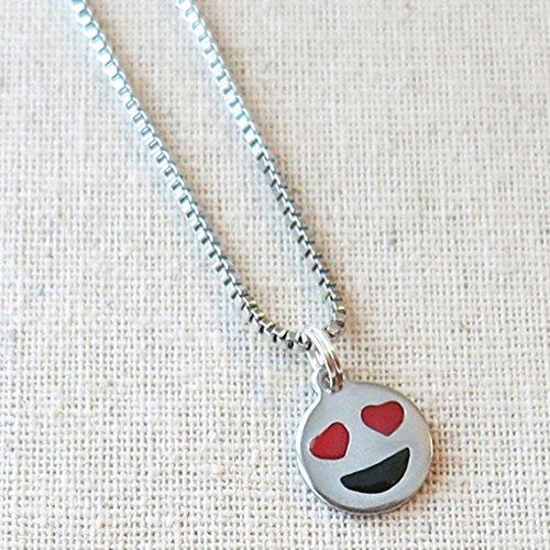 Heart Eyes Emoji Necklace, Smiley Face Necklace, Emoji Jewelry, Necklace for Girlfriend, Emoji Gift for Tween, Teenager Gifts, Emoji Favors -