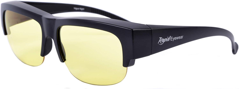 Rapid Eyewear Sur Lunette Conduite de Nuit /'Vogue Night/' pour hommes et femmes Lentilles anti /éblouissement et anti reflet Sadaptera sur des verres jusqu/à 140 mm de large