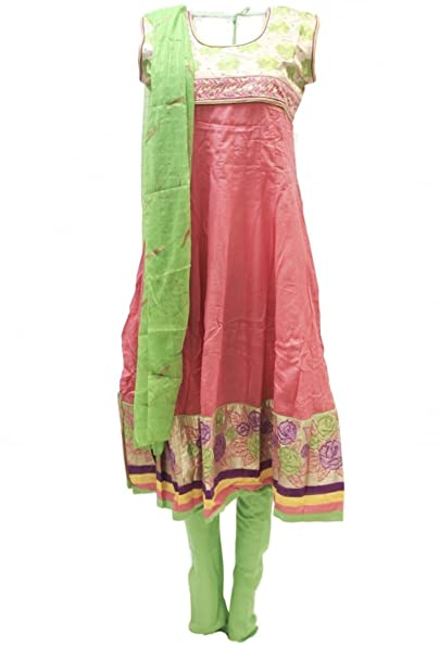 CSM3773 de las rosas y traje verde Churidar Bollywood Indian ...