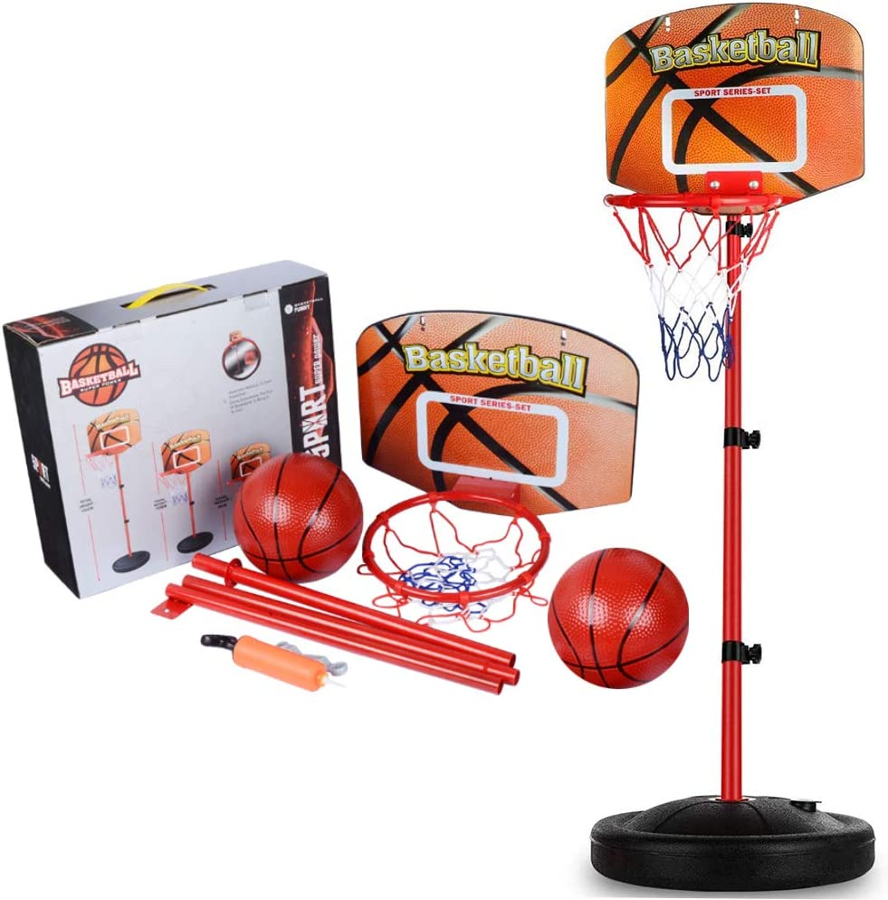 Years Old. Net and Ball Pump Indoor and Outdoor Fun Toys for Toddlers 3 Basketball Hoop for Kids Adjustable Height 30-62 Inches Portable Stand Basketball Set Sport Game Play Toys Set with Ball