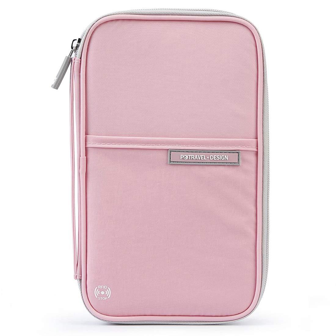 Family Passport Holder Travel Wallet, RFID Blocking Passport Wallet, Travel Document Organizer Holder Case with Hand Strap for Women Ladies Teens Girls. (Pink)