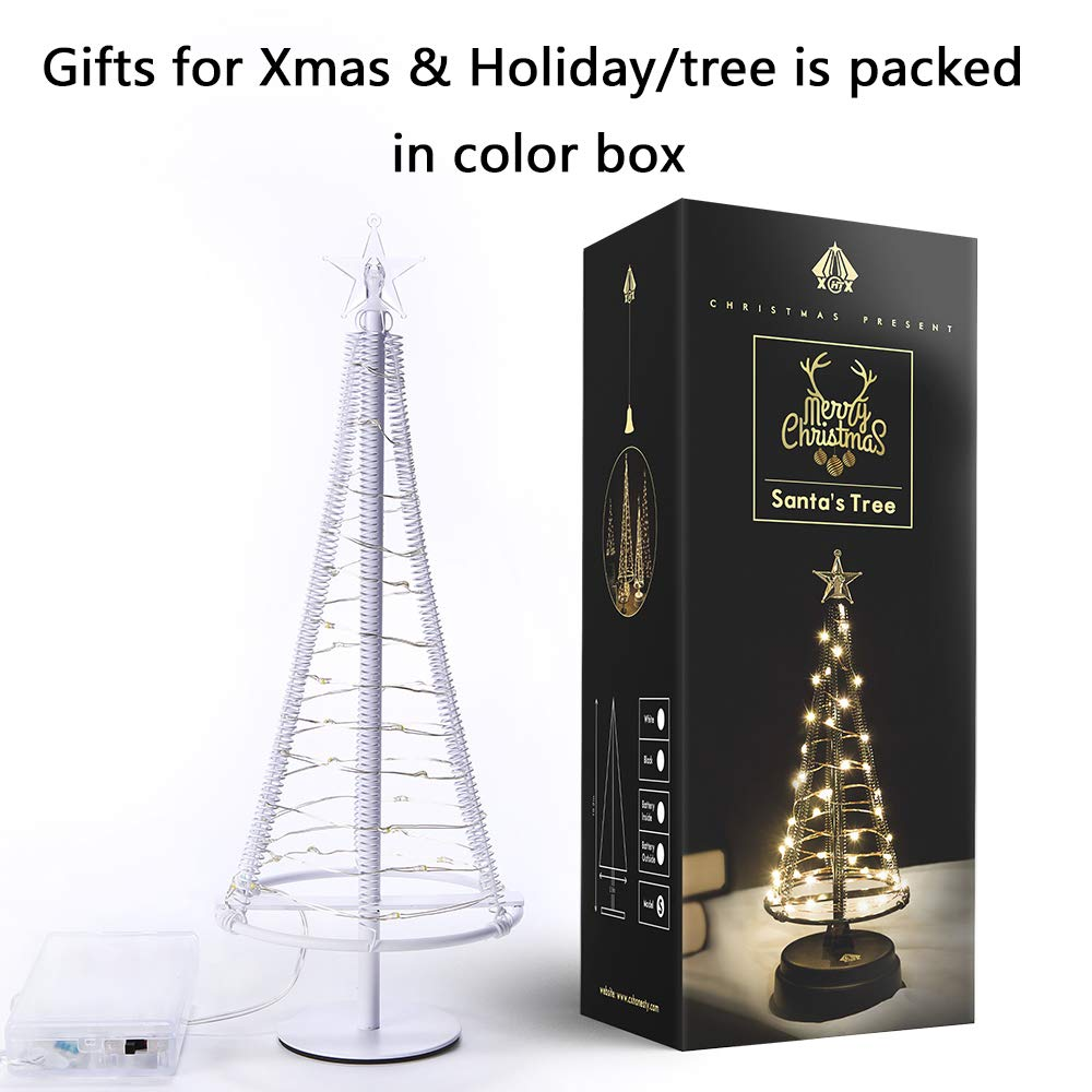 HONESTY Santa\'s Tree, Small Santa Tree,Artificial Santa\'s Tree, Holiday Party Gift, 40 Warm White LEDs on Copper Wire,Table Lamp & Nice Decorations Your Rooms,10.2 inch Tall,White