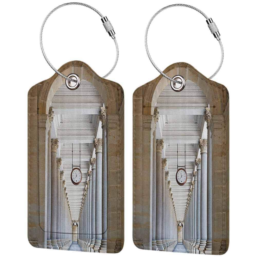 Waterproof luggage tag Apartment Decor Collection Classical Colonnade in Karlovy Vary Czech Republic Ancient Civilization Monument Print Soft to the touch Beige W2.7 x L4.6