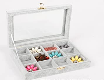 24 Grid Velvet Frame Coin Jewelry Showcase Display Tray Storage Case Blue