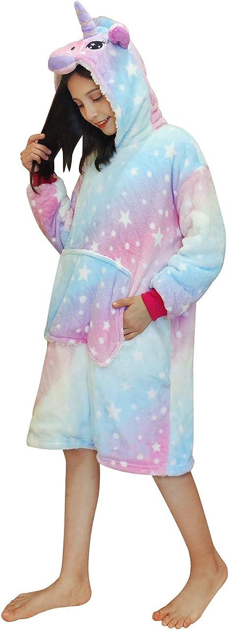 DRESHOW Unicorno Tutina Morbida Intera per Bambini e Bambine Ragazza Ragazzo Pigiama Anime Cosplay Halloween Costume Attrezzatura