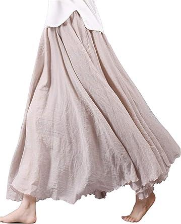 Faldas para Mujer Casual Moda De Verano Falda para Mode De Marca Mujer Algodón Lino Falda Larga Falda A Cuadros Falda Maxi Falda Doble Elástica Color Sólido: Amazon.es: Ropa y accesorios