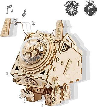 ROKR Kit de Caja Musical de Madera Puzzle de Madera 3D Mechanical Model Construction Kit-Proyectos Divertidos para Adultos y Niños - Maqueta 3D de Funcionamiento mecánico (Seymour): Amazon.es: Juguetes y juegos