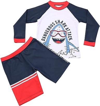 Toddler Baby Boys Two Pieces Swimsuit Set Kids Cartoon Bathing Suit Rash Guards