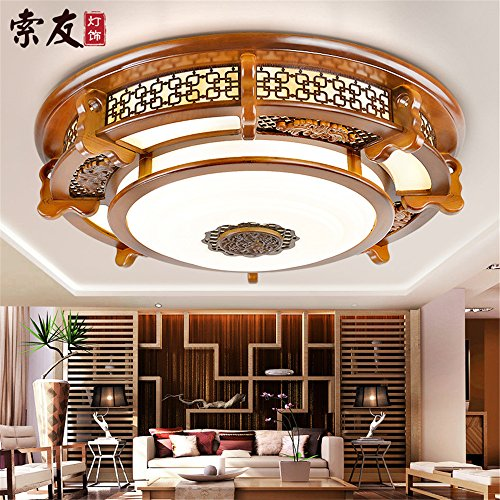 Leihongthebox Ceiling Lights lamp Chinese ceiling light round high wooden ceiling lamp lights arts emulation villa engineering Ceiling lamp for Hall, Study Room, Office, Bedroom, Living Room,600mm by Leihongthebox (Image #1)