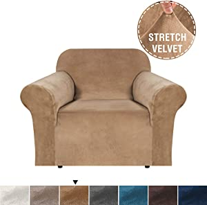 H.VERSAILTEX Velvet Plush Stretch Chair Slipcovers Sofa Covers 1 Piece Furniture Protector Rich Modern Real Soft Velvet Spandex Sofa Cover Chair Covers for Living Room (Chair-1 Seater, Luggage)