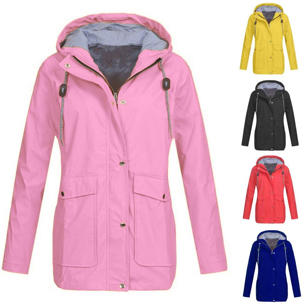 Womens Solid Rain Jacket Outdoor Plus Jackets Waterproof Hooded Raincoat