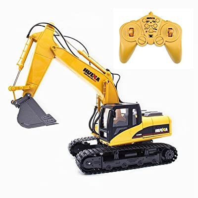 HuiNa Remote Control Excavator Truck 15 CH 2.4G Full Functional Construction Vehicles for Kids and Adults, 1:14 Boys Alloy Wireless RC Digger Toys: Toys & Games