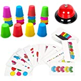 Youwo Quick Cups Games, Stacking Cups Set with 54 Picture Cards, 20 Stack Cups and a Bell, Classic Fun Family Games for Kids